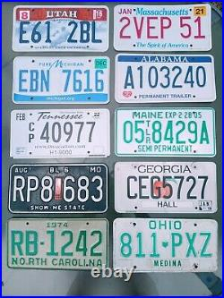 10 x License Plate LOT vintage collectibles tags ALPCA USA states America metal