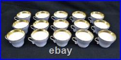 15 Hand Painted Gold Trim Blue Old Paris Porcelain Cup & Saucer Sets c. 1850