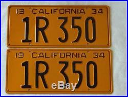 1934 California License Plates Pair Original CA Vintage Old NOT DMV CLEAR