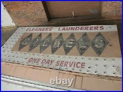 1940S/50s IOWA DRY CLEANERS ARROW NEON SIGN antique vtg old not porcelain enamel
