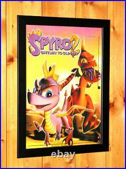 1999 Spyro 2 Ripto's Rage! Gateway to Glimmer PS1 Old Promo Poster Ad Art Framed