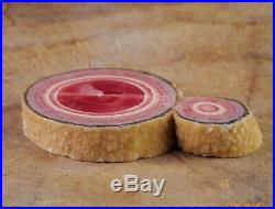 2 Pink RHODOCHROSITE Crystal Stalactite Slice Argentina Old Stock Raw 38268
