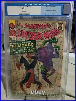 Amazing Spider-Man #6 CGC 7.5 1st App of the Lizard OLD LABEL WHITE pages