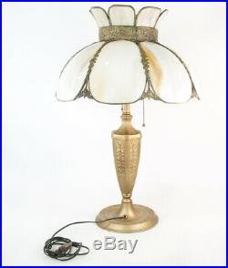 Antique Art Nouveau Style Cast Metal Lamp with Slag Glass Shade Old Works
