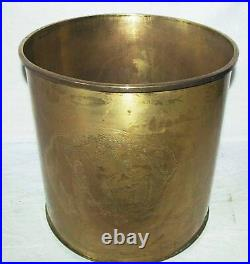 Antique Brass Etched Country Side Old Art Scene Planter Pot Bucket Canister Can