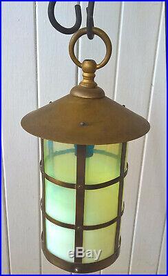 Antique Brass Lantern English Old Vaseline Glass Shade