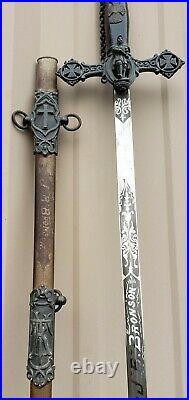 Antique Knights Templar Sword Scabbard Fraternal Masonic Masons VTG Old Ornate