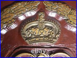 Antique Old Large Crest Coat of Arms GR Crown Wreath English England Mold Wood