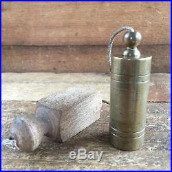 Antique STONEMASONS Brass PLUMB BOB Vintage Old Hand Level Marking Tool #36
