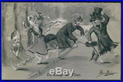 Art Maurice Boulanger dressed cat cats original old 1900s postcard lot set of 10