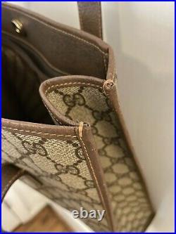 Auth Old GUCCI Collection Vintage Vtg GG Logo Shoulder Tote Bag PVC Brown Beige