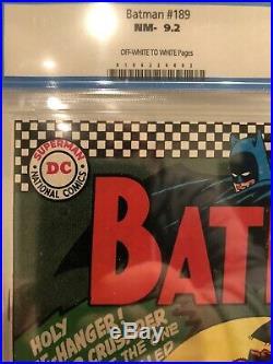 Batman #189 CGC 9.2 (1967, DC Comics), Old Label, Never Pressed, 1st Scarecrow
