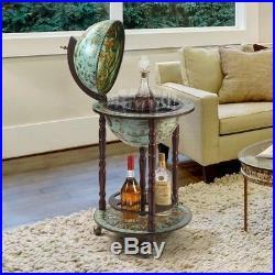 Blue Old World Nautical Style 16th Cen Replica World Globe Wine & Spirits Bar