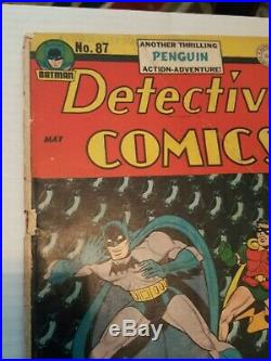 Detective Comics 87 GD/VG 3.0 Penguin story Golden Age 1944 Robin 75 yr old comi