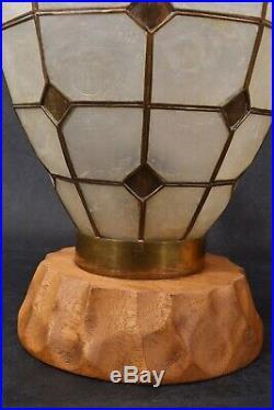 EXQUISITE Old CAPIZ Shell HAWAIIAN LAMPS Jar URN Wood Brass TIKI BAR Polynesian