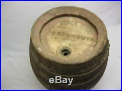 Early Wooden Beer Keg Barrel F Jones B Co Portsmouth Nh Antique Old Vtg Pre Pro