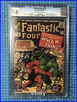 FANTASTIC FOUR 25 CGC 7.0 HULK VS THING 2ND APP CAPTAIN AMERICA Old label CPR it