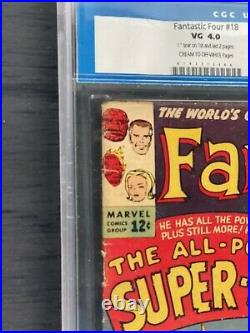 Fantastic Four #18 Cgc 4.0 1st App Super Skrull 1963 Old Label Never Pressed