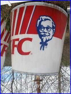 Giant Old Orig KFC Chicken Col Sanders Bucket Revolving Sign not porcelain