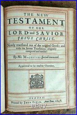 Holy Bible John Field 1648 Bible King James Old & New Testament London Pub