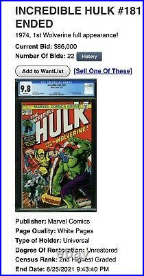 Incredible Hulk 181 CBCS 9.8 not CGC 1st Full Wolverine 1974 WHITE Old Label