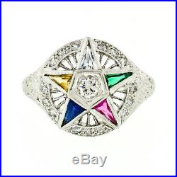 Jabel 18k White Gold Old Cut Diamond Masonic Order of the Eastern Star OES Ring