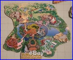LE OLD Disney Pin Set WDW Cast Member Atlas Animal Kingdom Park Puzzle Map Jumbo