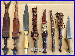 LOT OF 8 ANTIQUE & OLD AFRICAN KNIVES / DAGGERS Moroccan, Sudanese, Somali etc