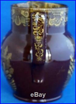 Lord Nelson Chinoiserie British Commemorative Brown Chinoiserie Old Pottery Jug