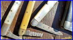 Lot Of 19 Vintage Old Knives Kabar Queen Boker Parts/Repair Lot Stag Bone