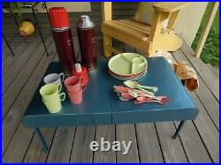 New Old Stock 1954 GOTHAM Car-Camping PICNIC SET in a Suitcase TABLE Incredible
