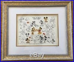OLD RARE LE Mickey Mouse Loves Minnie Model Sheet Framed Pin Set Disney NWT COA