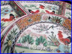 Old CHINESE Export ROOSTER Cockerel FAMILLE Rose Lazy Susan Relish Server w Case
