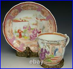 Old Chinese Export Lowestoft Porcelain Hand Painted Cup & Saucer