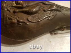 Old Collectible Antique Brass Metal Gun Powder Horn/Flask Decorative Case