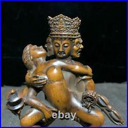 Old Collectible Chinese Boxwood Tibetan Buddhism Make Love Happy Buddha Statue