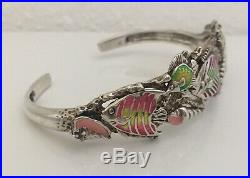Old KABANA Sterling Silver 925 Enameled Fish Sealife Ocean Coral Cuff Bracelet