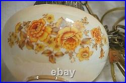 Old Vintage 70's Lusterware Floral Hanging Swag Lamp Glass Globe w Pull Chain