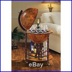 Old World Italian Style 16th-century Nautical Maps Globe Bar Liquor Cabinet