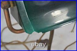 Old desk lamp green glass shade cloth cord Greenalite banker original 1920