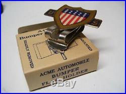 Original 1940' s Vintage nos US Flag License plate topper Emblem old Rat Hot rod