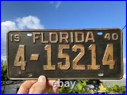 Original 1949 Vintage Florida License plate USA TAG Collectible 49 FL 4 Old Rare