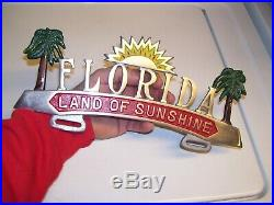Original 1950' s Vintage Florida VACATION PROMO original License plate topper
