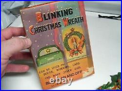 Original 1950s Vintage nos auto Window Blinking light Christmas Wreath Hot rod