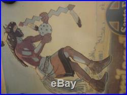 Original Santa Fe Railroad Posters Vtg Old Western Paper Red Cliffs Dude Hopi