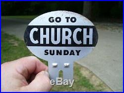 Original vintage 1940s GO TO CHURCH SUNDAY old license plate topper auto badge