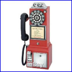 Payphone Vintage Red Old Style Retro Look Cord Telephone Coin 1950 Rotary Dial