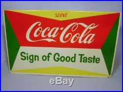 RARE 1950's SERVE COCA COLA LARGE DISPLAY METAL RACK SIGN NEW OLD STOCK