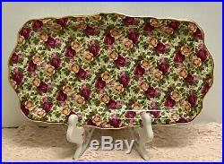 Rare 1999 Royal Albert Old Country Roses Chintz Collection Sandwich Tray Platter