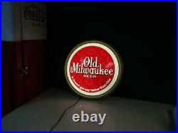 Rare! Vintage Old Milwaukee Beer Round 21 Lighted Sign Wall Advertisement